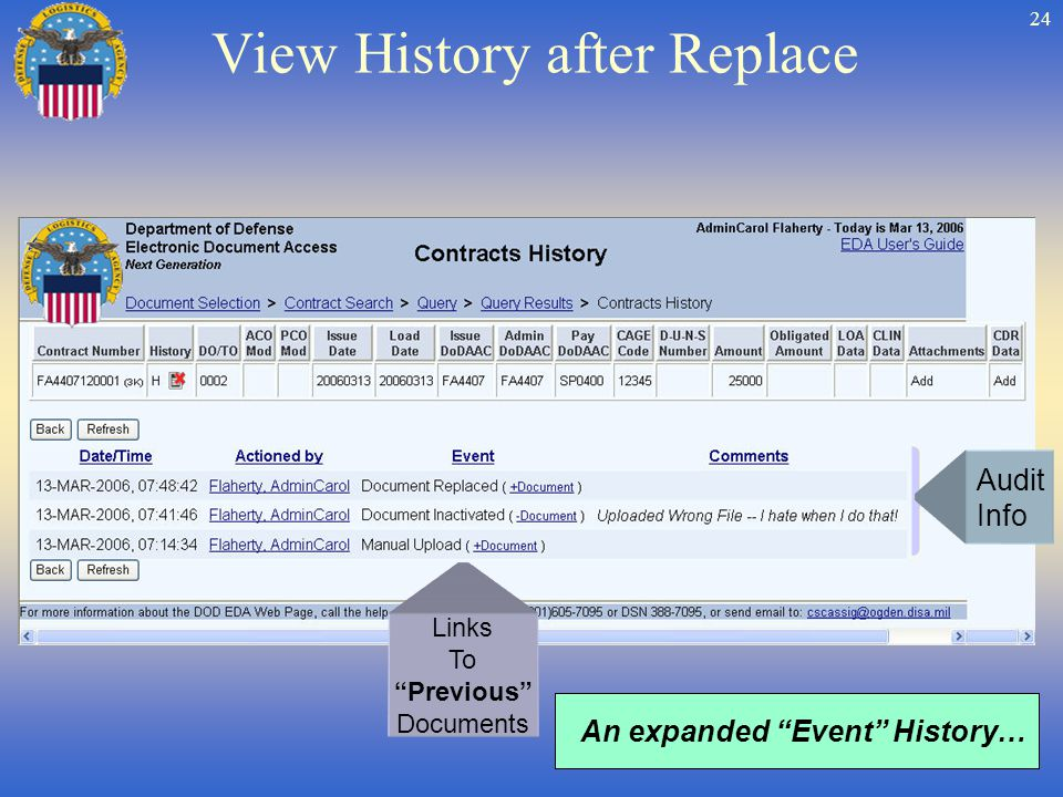 24 View History after Replace Links To Previous Documents An expanded Event History… Audit Info