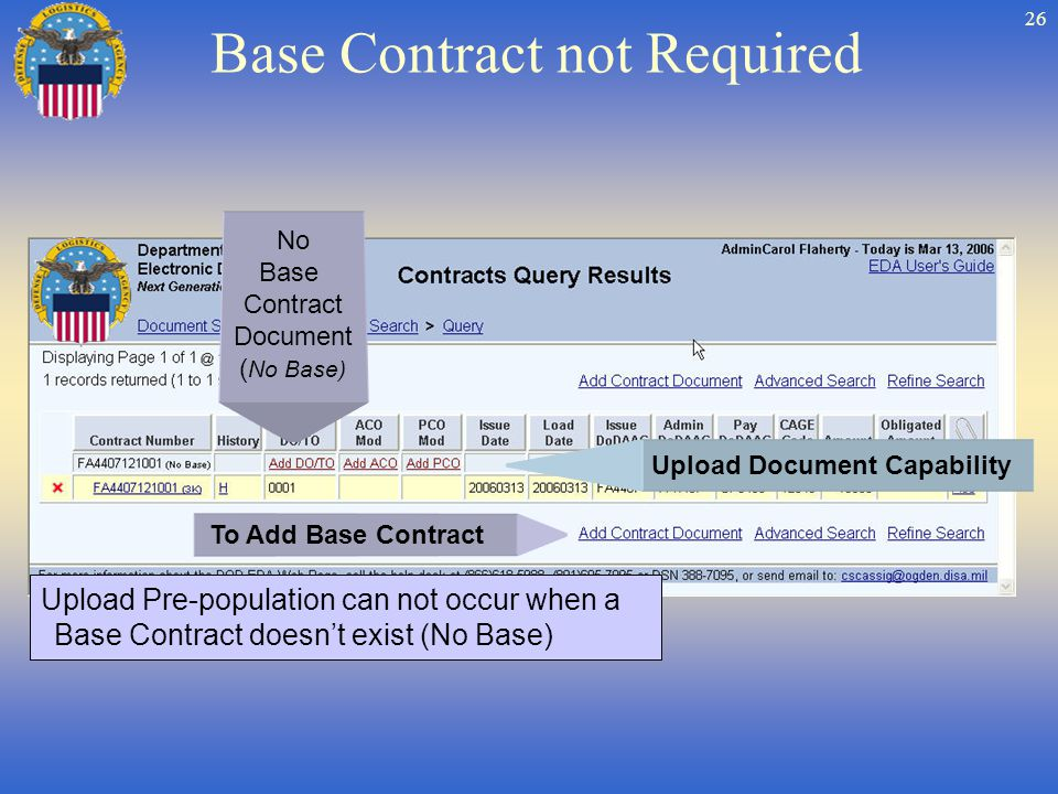 26 Base Contract not Required No Base Contract Document ( No Base) Upload Document Capability Upload Pre-population can not occur when a Base Contract doesnt exist (No Base) To Add Base Contract