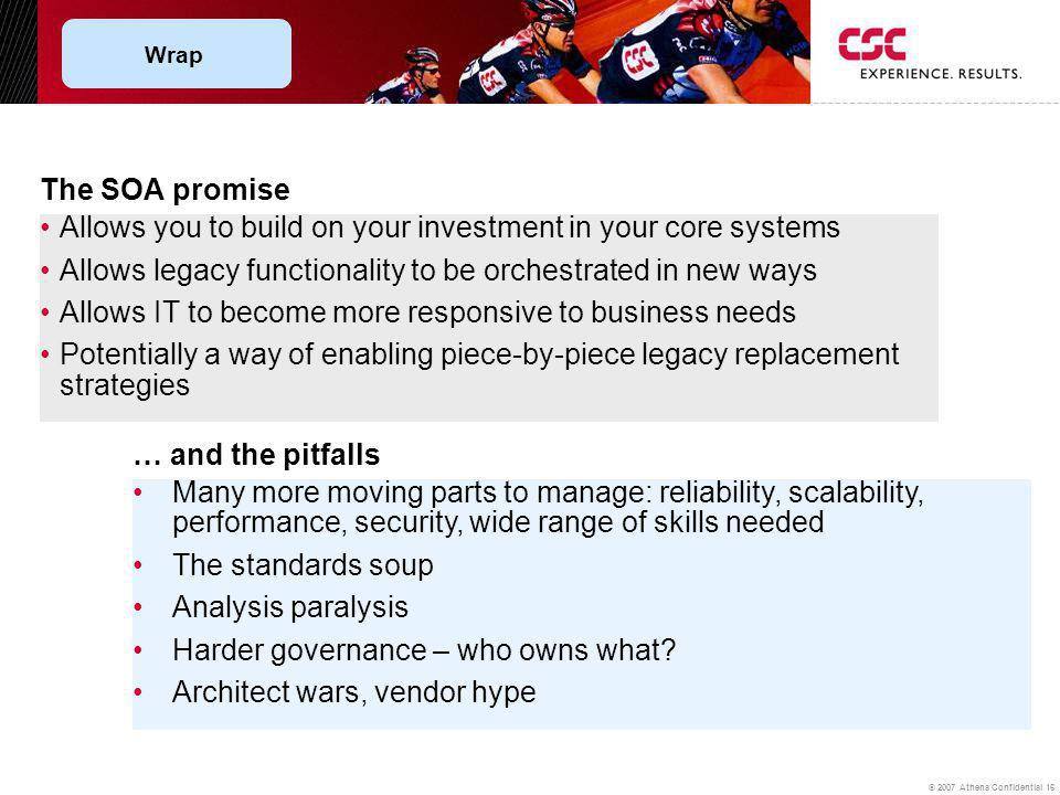 © 2007 Athena Confidential 16 The SOA promise Allows you to build on your investment in your core systems Allows legacy functionality to be orchestrated in new ways Allows IT to become more responsive to business needs Potentially a way of enabling piece-by-piece legacy replacement strategies … and the pitfalls Many more moving parts to manage: reliability, scalability, performance, security, wide range of skills needed The standards soup Analysis paralysis Harder governance – who owns what.