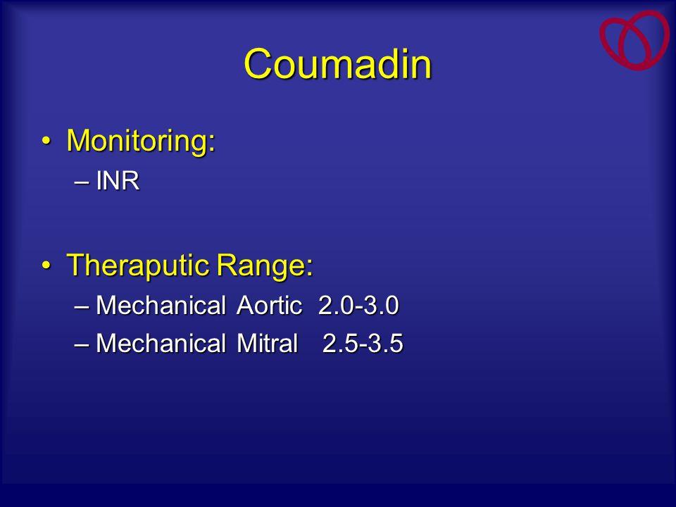 Coumadin Monitoring:Monitoring: –INR Theraputic Range:Theraputic Range: –Mechanical Aortic 2.0-3.0 –Mechanical Mitral 2.5-3.5
