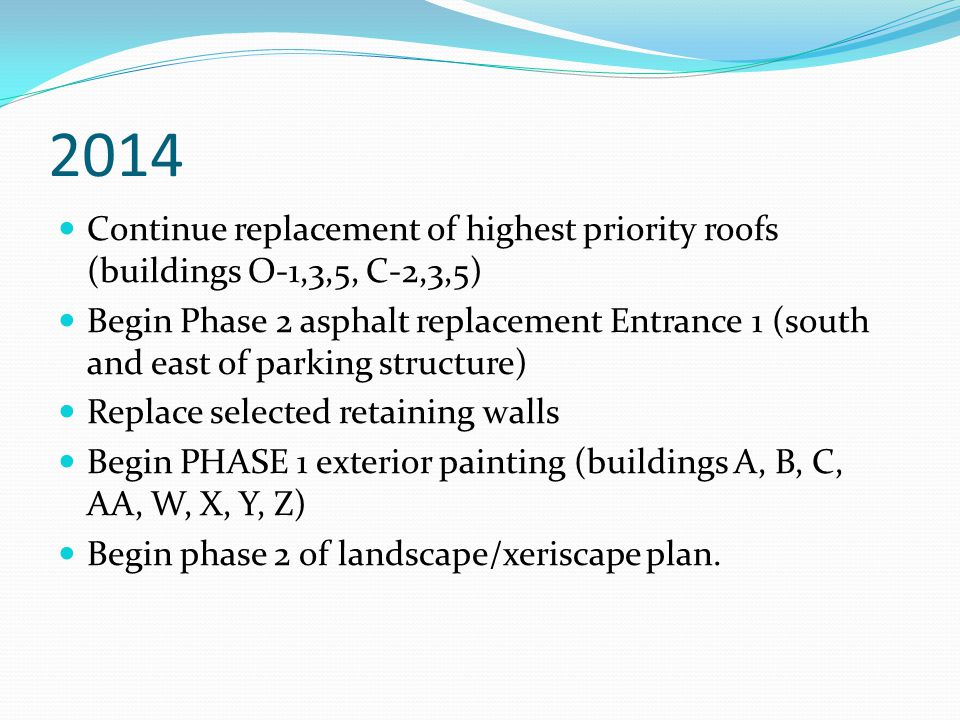2014 Continue replacement of highest priority roofs (buildings O-1,3,5, C-2,3,5) Begin Phase 2 asphalt replacement Entrance 1 (south and east of parking structure) Replace selected retaining walls Begin PHASE 1 exterior painting (buildings A, B, C, AA, W, X, Y, Z) Begin phase 2 of landscape/xeriscape plan.