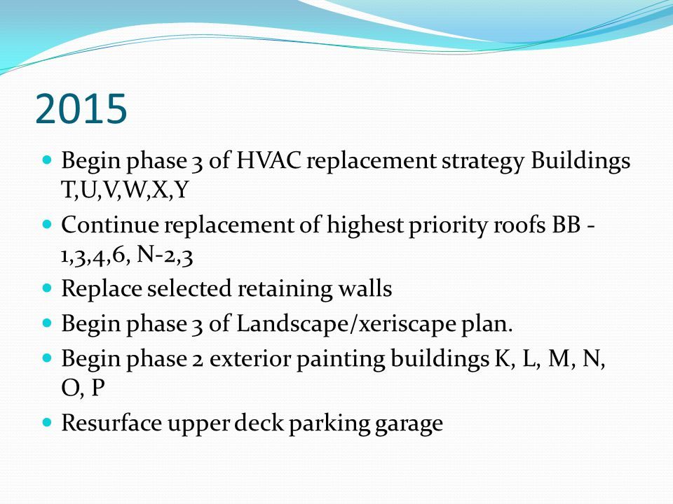 2015 Begin phase 3 of HVAC replacement strategy Buildings T,U,V,W,X,Y Continue replacement of highest priority roofs BB - 1,3,4,6, N-2,3 Replace selected retaining walls Begin phase 3 of Landscape/xeriscape plan.