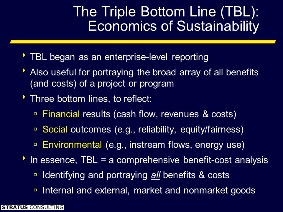 The Triple Bottom Line (TBL): Economics of Sustainability TBL began as an enterprise-level reporting Also useful for portraying the broad array of all