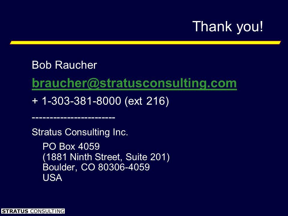 Thank you! Bob Raucher braucher@stratusconsulting.com + 1-303-381-8000 (ext 216) ------------------------ Stratus Consulting Inc. PO Box 4059 (1881 Ni