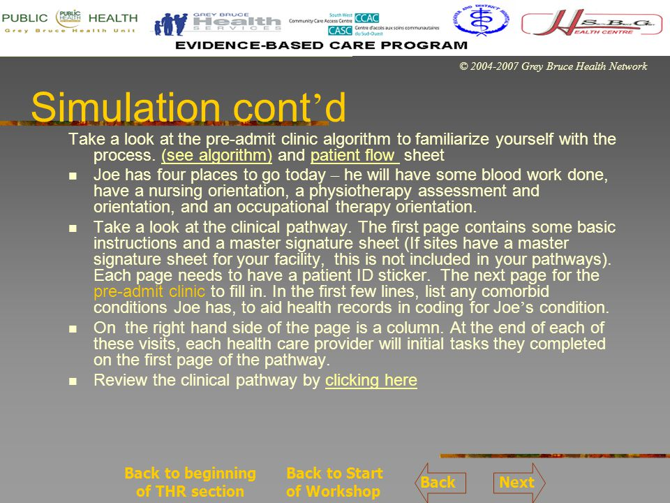 © 2004-2007 Grey Bruce Health Network Simulation cont d Take a look at the pre-admit clinic algorithm to familiarize yourself with the process.