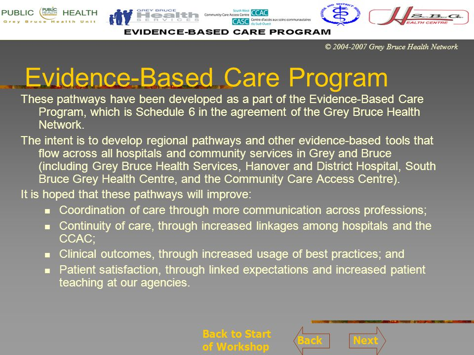 © 2004-2007 Grey Bruce Health Network Total Hip Replacement Pathway The Total Hip Replacement pathway is intended for all patients who are booked for an elective total hip replacement.