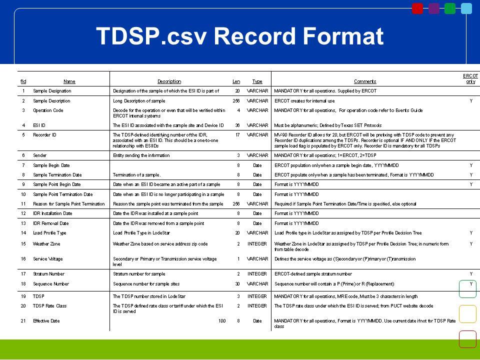 TDSP.csv Record Format