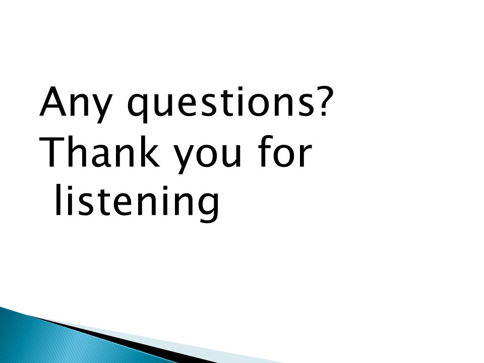 Any questions Thank you for listening