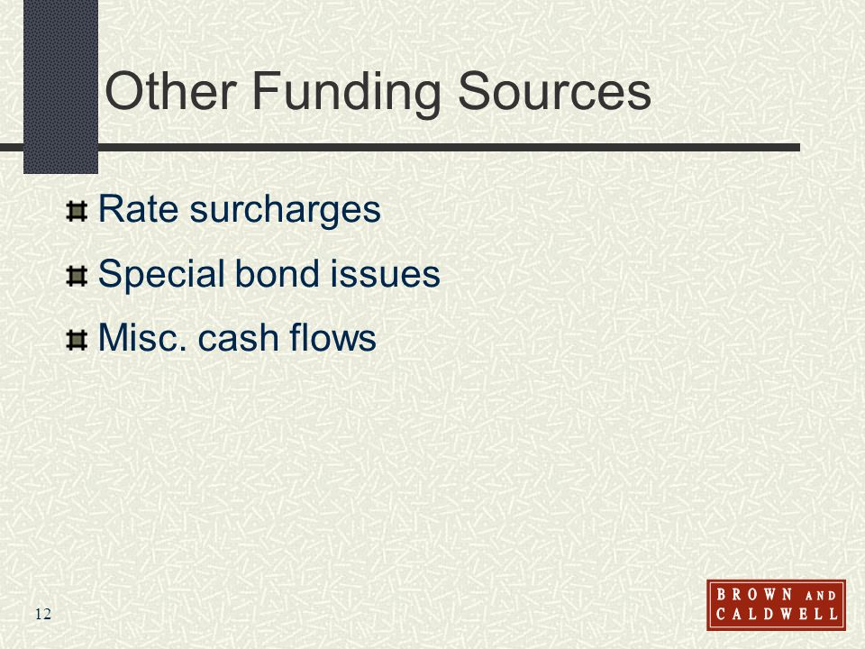 12 Other Funding Sources Rate surcharges Special bond issues Misc. cash flows