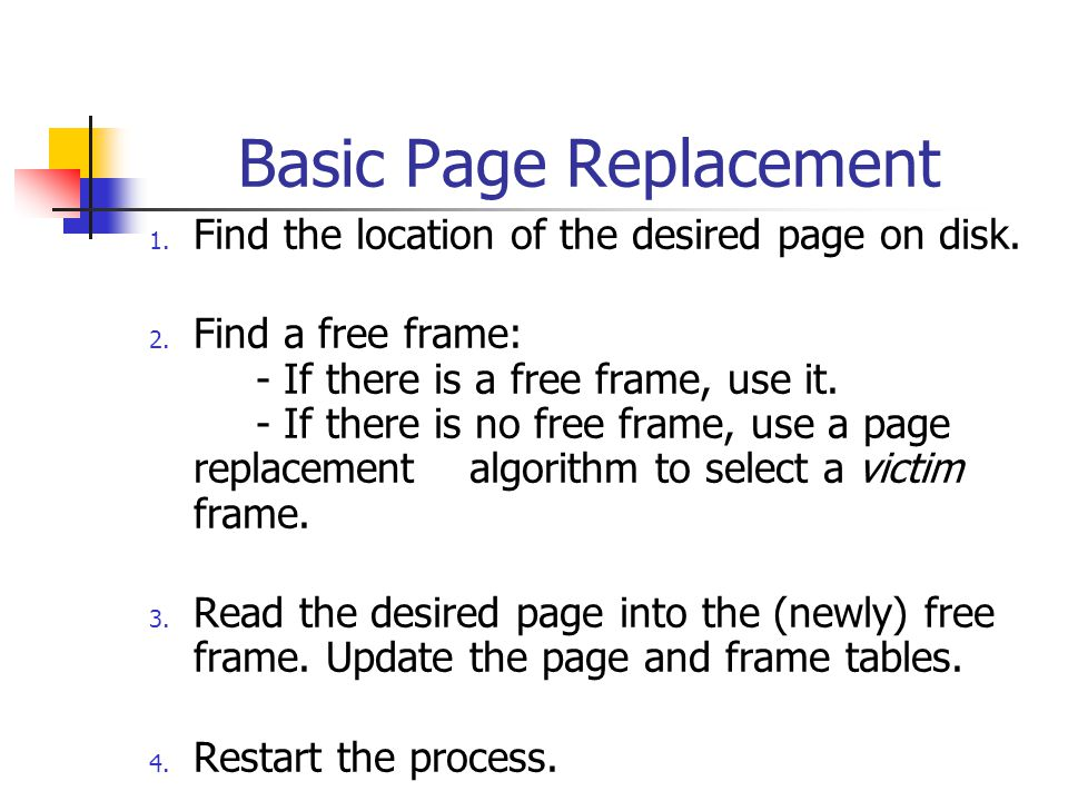 Basic Page Replacement 1. Find the location of the desired page on disk.