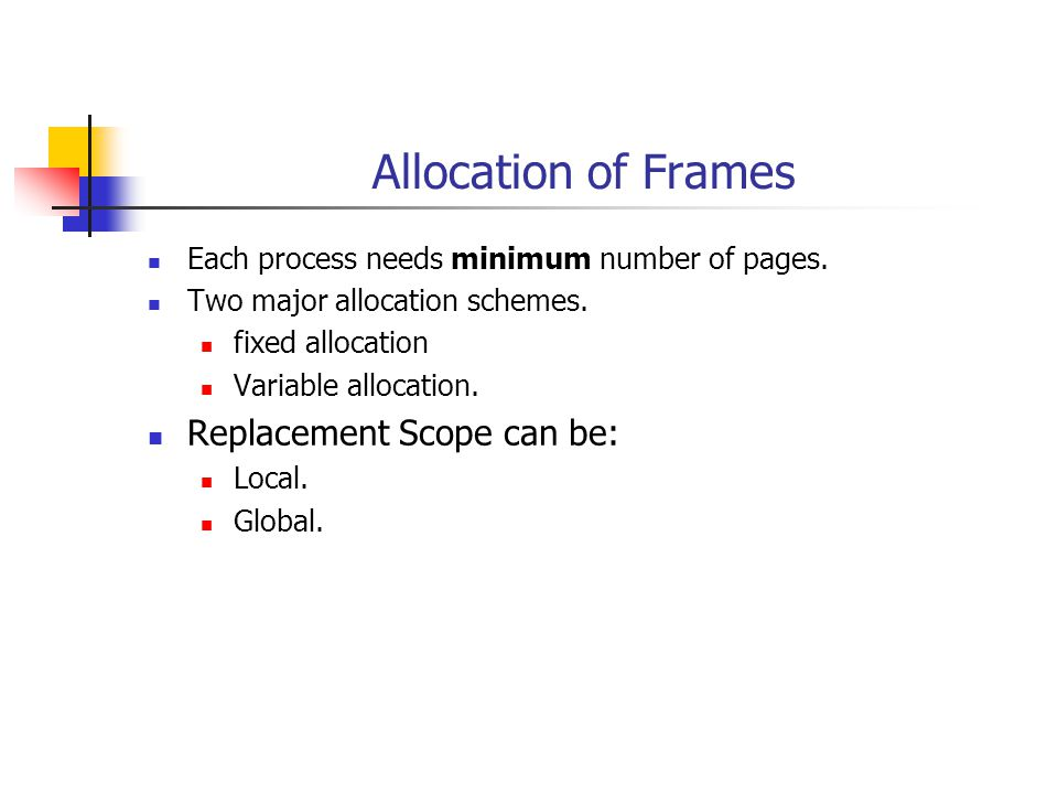 Allocation of Frames Each process needs minimum number of pages.