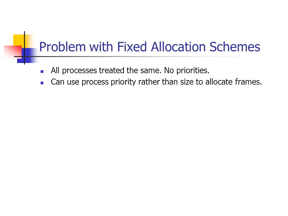 Problem with Fixed Allocation Schemes All processes treated the same.