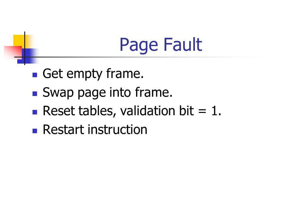 Page Fault Get empty frame. Swap page into frame. Reset tables, validation bit = 1. Restart instruction