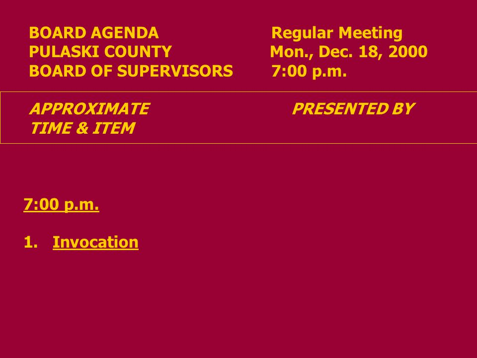 BOARD AGENDA Regular Meeting PULASKI COUNTY Mon., Dec.