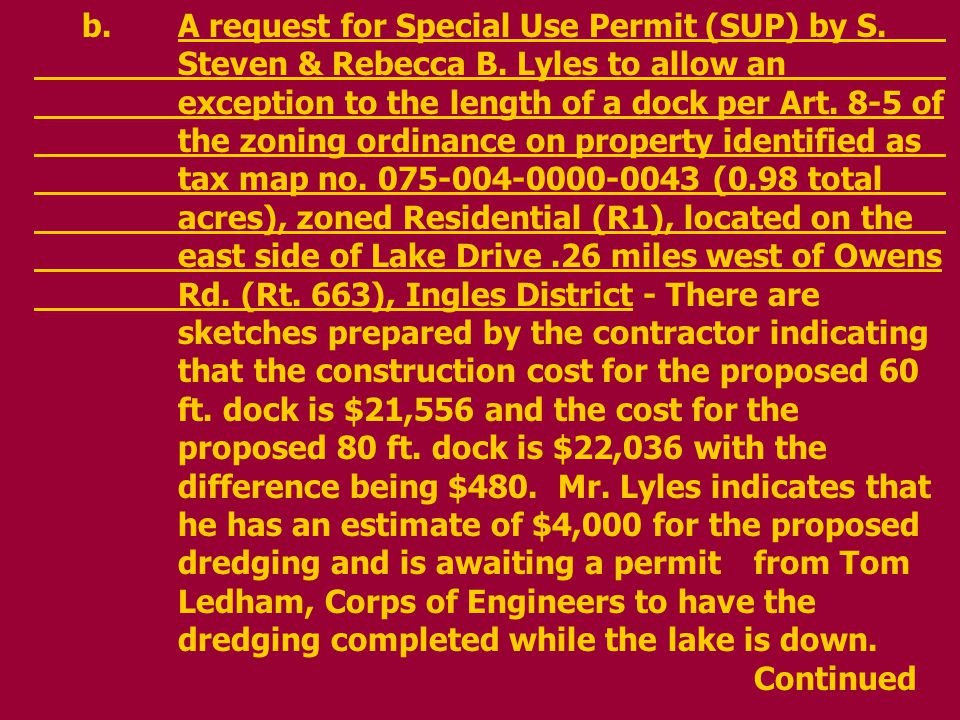 b.A request for Special Use Permit (SUP) by S. Steven & Rebecca B.