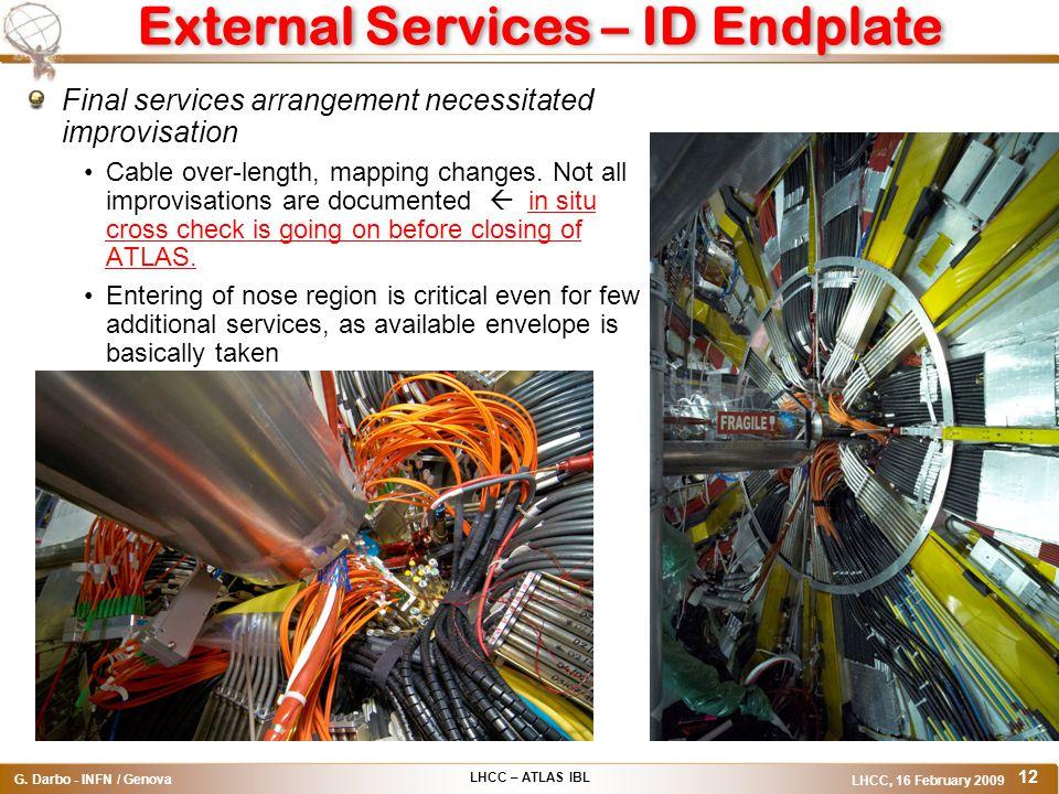 LHCC – ATLAS IBL G. Darbo - INFN / Genova LHCC, 16 February 2009 12 External Services – ID Endplate Final services arrangement necessitated improvisat