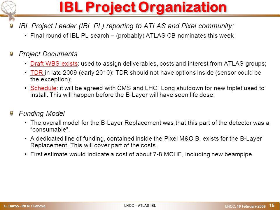 LHCC – ATLAS IBL G. Darbo - INFN / Genova LHCC, 16 February 2009 15 IBL Project Organization IBL Project Leader (IBL PL) reporting to ATLAS and Pixel