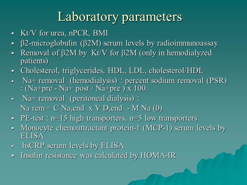 Laboratory parameters Kt/V for urea, nPCR, BMI Kt/V for urea, nPCR, BMI β2-microglobulin (β2M) serum levels by radioimmunoassay β2-microglobulin (β2M) serum levels by radioimmunoassay Removal of β2Μ by Κt/V for β2Μ (only in hemodialyzed patients) Removal of β2Μ by Κt/V for β2Μ (only in hemodialyzed patients) Cholesterol, triglycerides, HDL, LDL, cholesterol/HDL Cholesterol, triglycerides, HDL, LDL, cholesterol/HDL Na+ removal (hemodialysis) : percent sodium removal (PSR) : (Na+pre - Na+ post / Na+pre ) x 100.