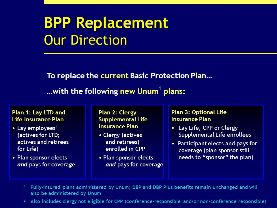 2 BPP Replacement Our Direction Plan 2: Clergy Supplemental Life Insurance Plan Clergy (actives and retirees) enrolled in CPP Plan sponsor elects and pays for coverage new Unum 1 plans …with the following new Unum 1 plans: Plan 1: Lay LTD and Life Insurance Plan Lay employees 2 (actives for LTD; actives and retirees for Life) Plan sponsor elects and pays for coverage Plan 3: Optional Life Insurance Plan Lay Life, CPP or Clergy Supplemental Life enrollees Participant elects and pays for coverage (plan sponsor still needs to sponsor the plan) 1 Fully-insured plans administered by Unum; DBP and DBP Plus benefits remain unchanged and will also be administered by Unum 2 Also includes clergy not eligible for CPP (conference-responsible and/or non-conference responsible) current To replace the current Basic Protection Plan…
