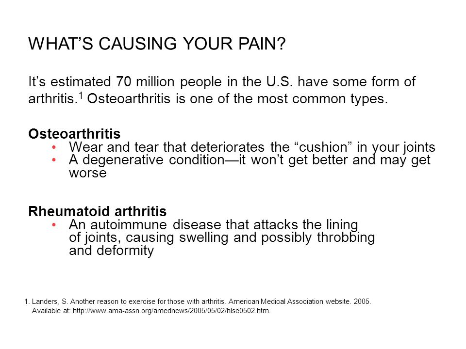 Its estimated 70 million people in the U.S. have some form of arthritis. 1 Osteoarthritis is one of the most common types. Osteoarthritis Wear and tea