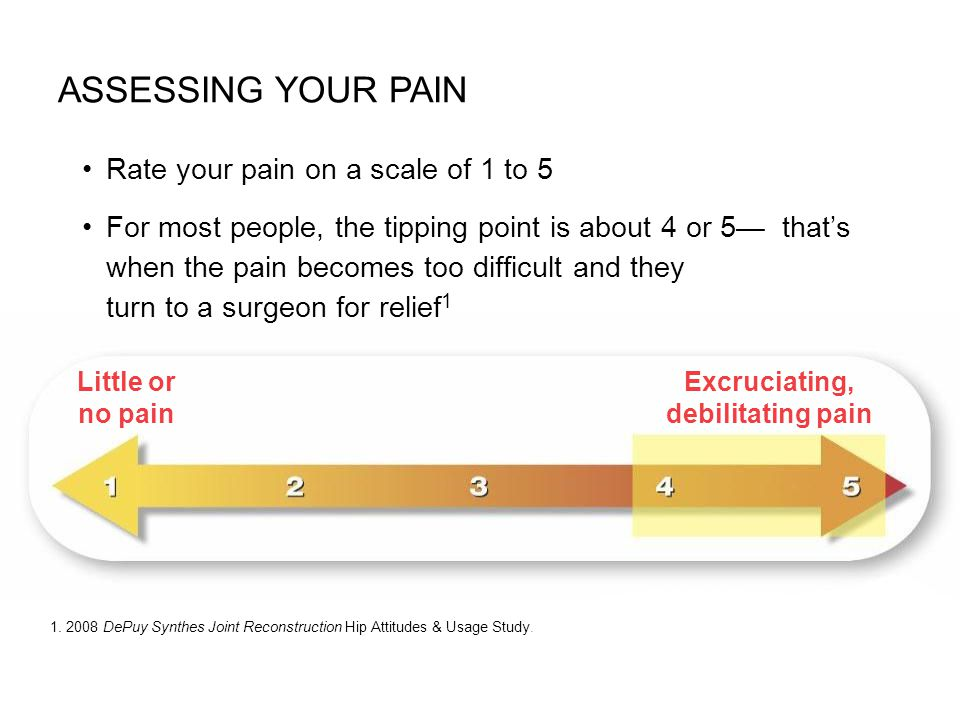Rate your pain on a scale of 1 to 5 For most people, the tipping point is about 4 or 5 thats when the pain becomes too difficult and they turn to a su