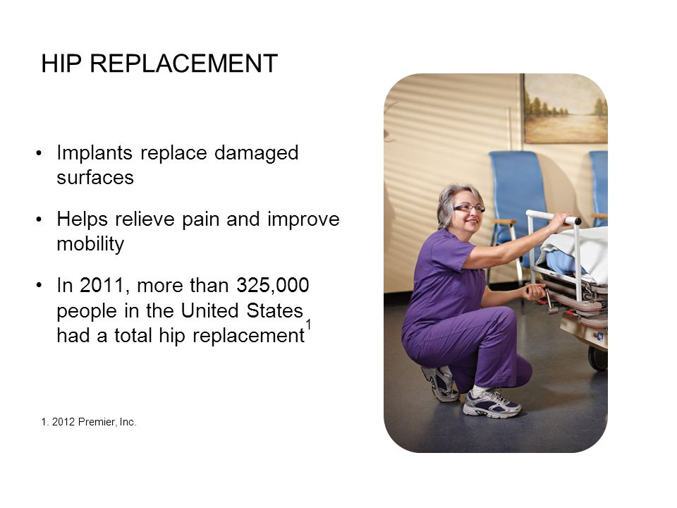 Implants replace damaged surfaces Helps relieve pain and improve mobility In 2011, more than 325,000 people in the United States had a total hip repla