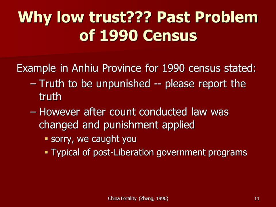China Fertility (Zheng, 1996)11 Why low trust .