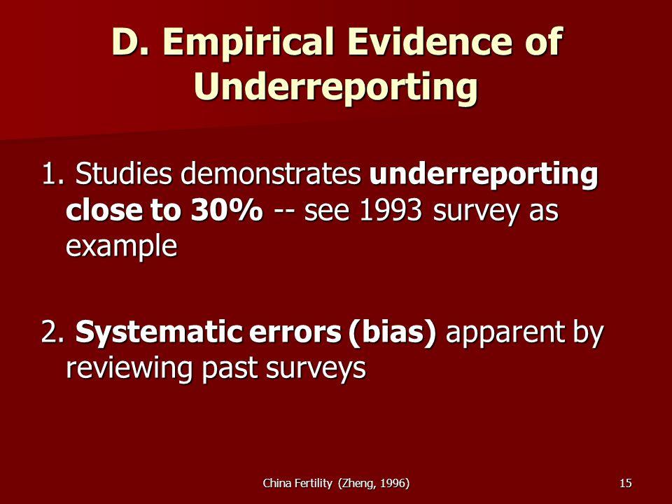 China Fertility (Zheng, 1996)15 D. Empirical Evidence of Underreporting 1.