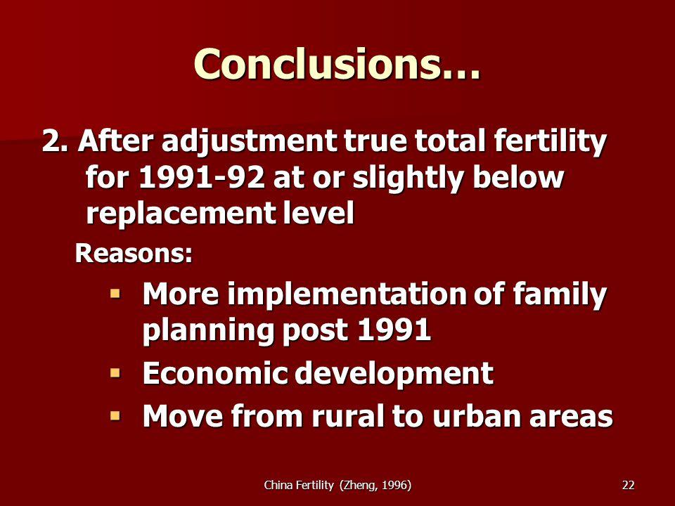 China Fertility (Zheng, 1996)22 Conclusions… 2.