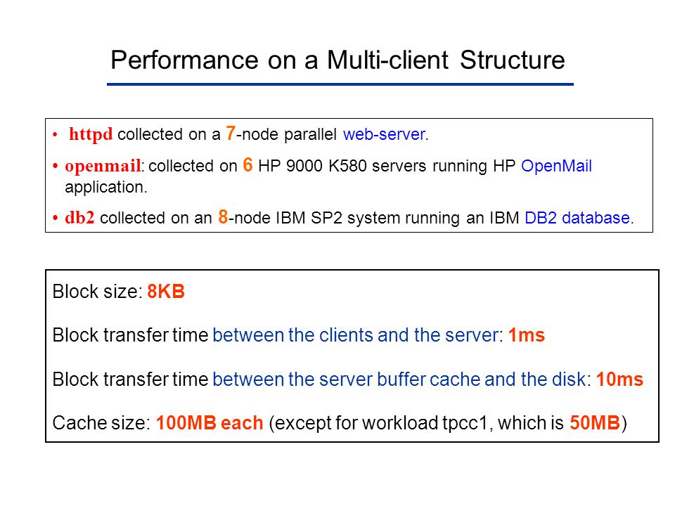 Performance on a Multi-client Structure httpd collected on a 7 -node parallel web-server. openmail : collected on 6 HP 9000 K580 servers running HP Op