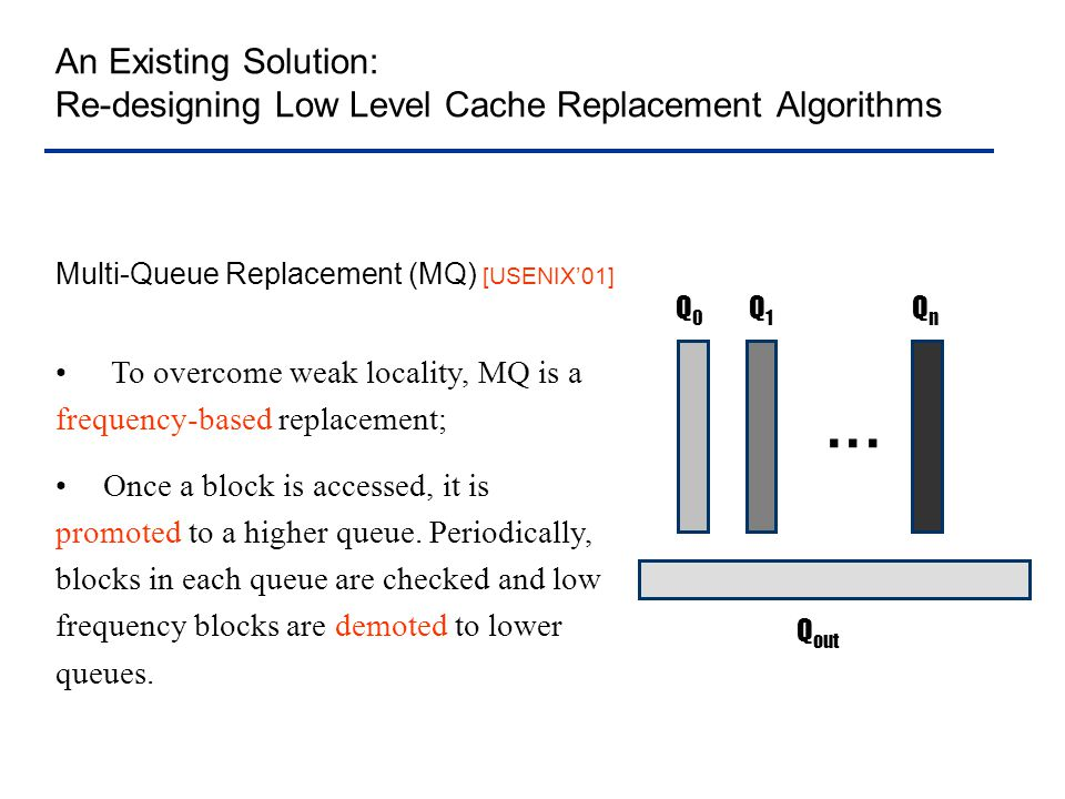 Drawbacks of MQ Replacement Inheriting the weakness of frequency-based algorithm – not responsive to access pattern changes Containing workload sensitive parameters; Cannot fully exploit the locality knowledge inherent in applications (accurate information is in high level caches) Motivation: Locality analysis is conducted at clients, where original requests are generated.