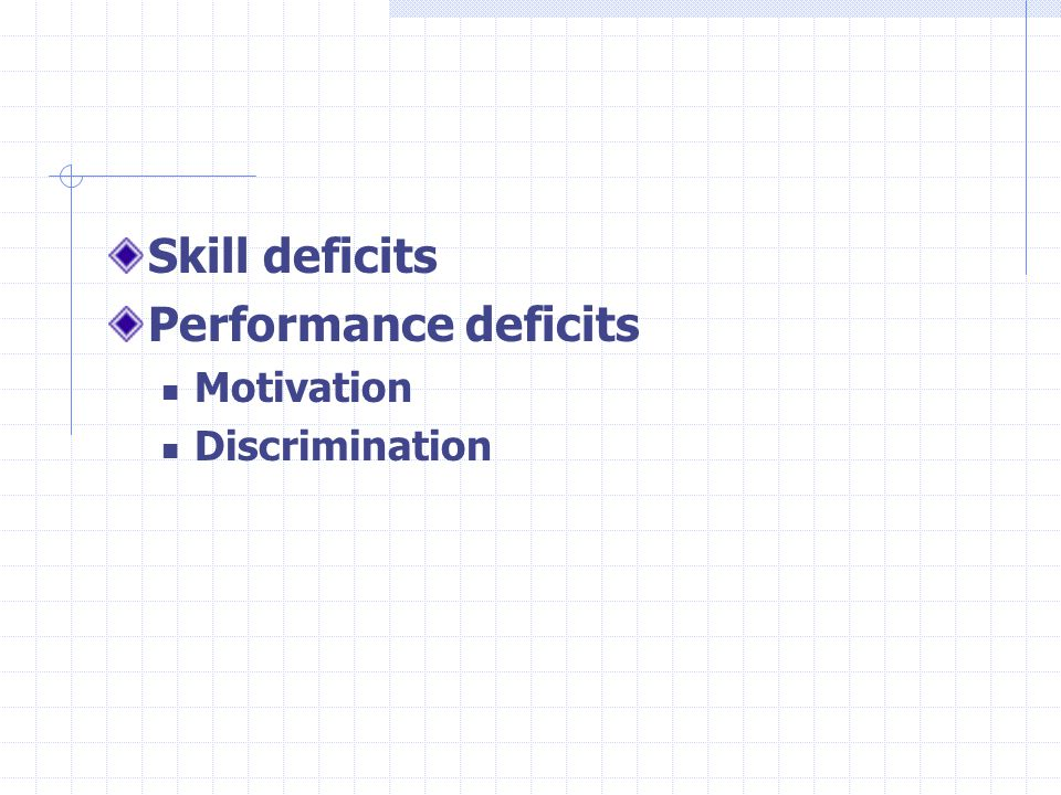 Skill deficits Performance deficits Motivation Discrimination