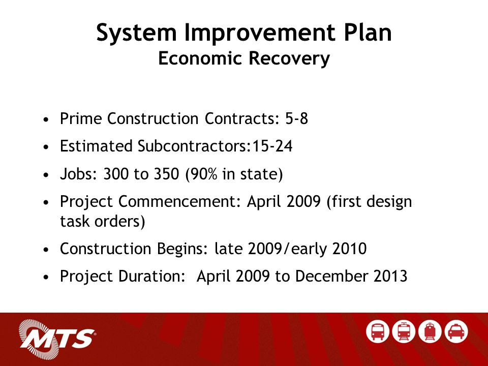 System Improvement Plan Economic Recovery Prime Construction Contracts: 5-8 Estimated Subcontractors:15-24 Jobs: 300 to 350 (90% in state) Project Commencement: April 2009 (first design task orders) Construction Begins: late 2009/early 2010 Project Duration: April 2009 to December 2013