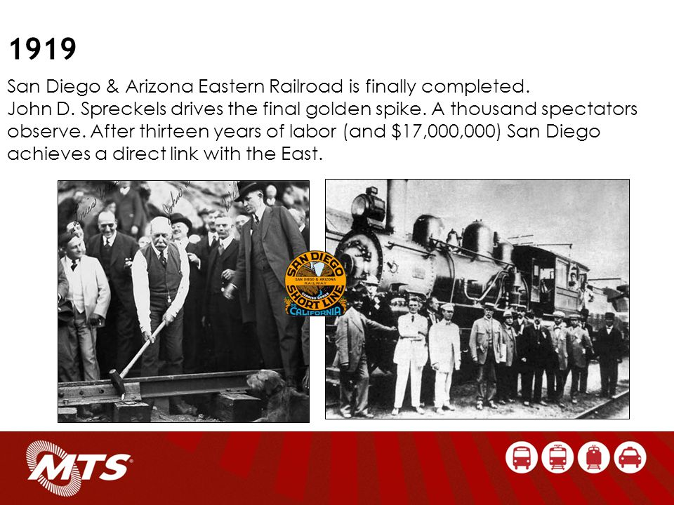 San Diego & Arizona Eastern Railroad is finally completed.