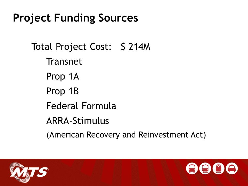 Total Project Cost: $ 214M Transnet Prop 1A Prop 1B Federal Formula ARRA-Stimulus (American Recovery and Reinvestment Act) Project Funding Sources