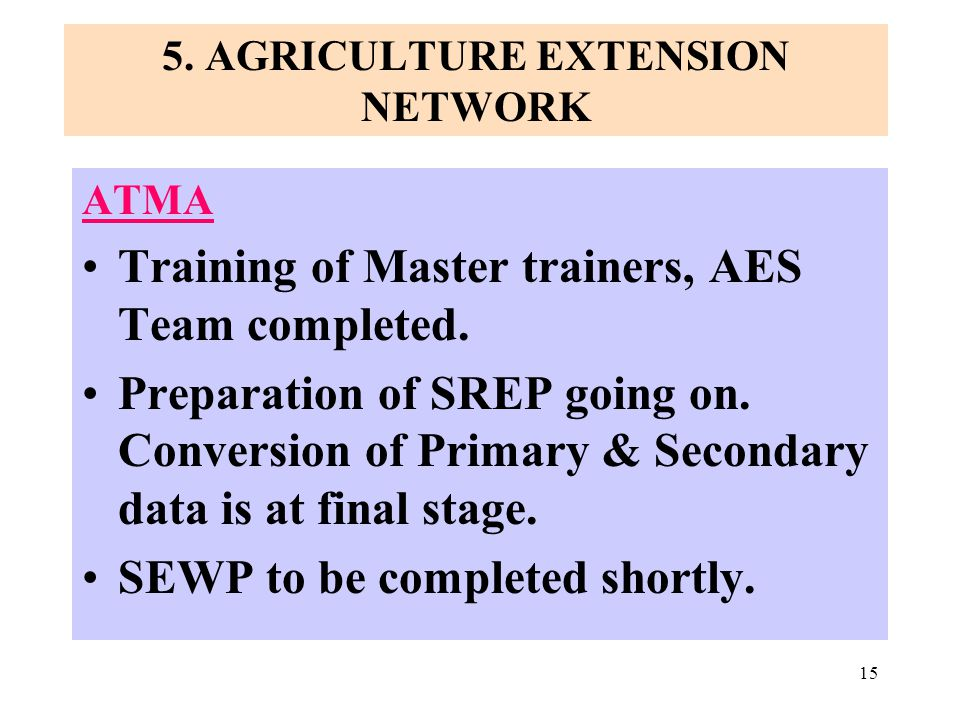 15 5.AGRICULTURE EXTENSION NETWORK ATMA Training of Master trainers, AES Team completed.