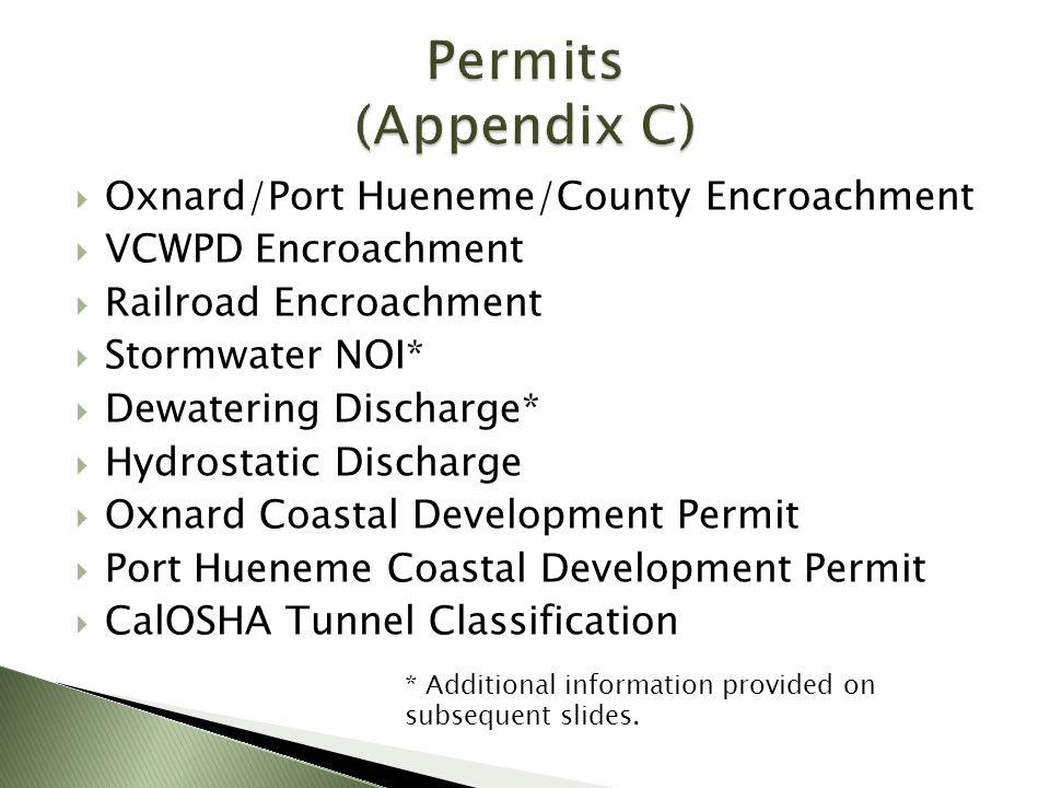 Oxnard/Port Hueneme/County Encroachment VCWPD Encroachment Railroad Encroachment Stormwater NOI* Dewatering Discharge* Hydrostatic Discharge Oxnard Co