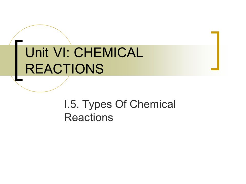 Unit VI: CHEMICAL REACTIONS I.5. Types Of Chemical Reactions