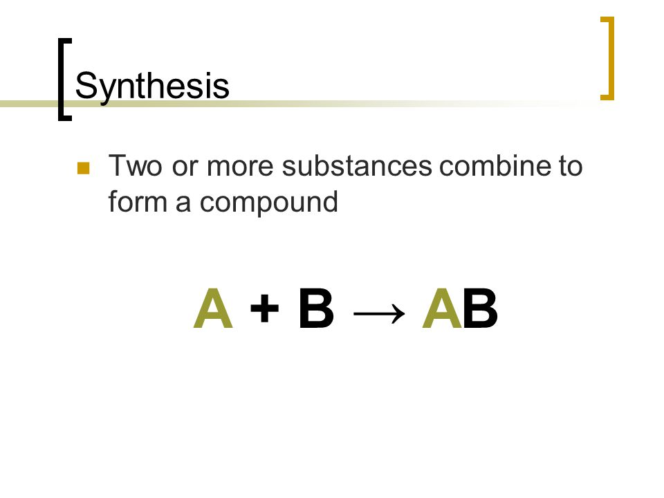 Synthesis Two or more substances combine to form a compound A + B AB