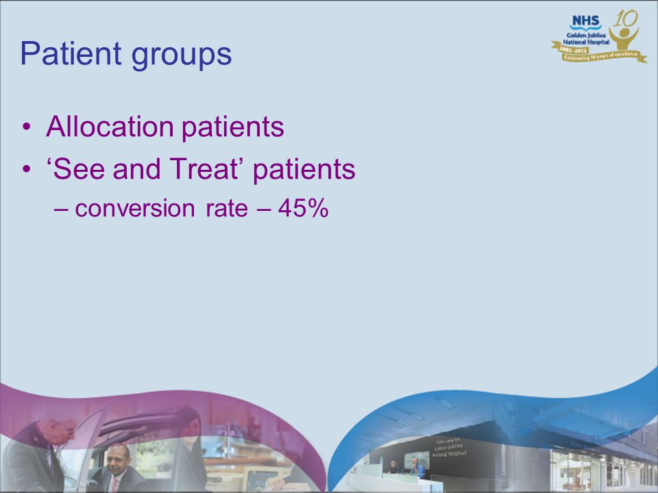 Patient groups Allocation patients See and Treat patients –conversion rate – 45%