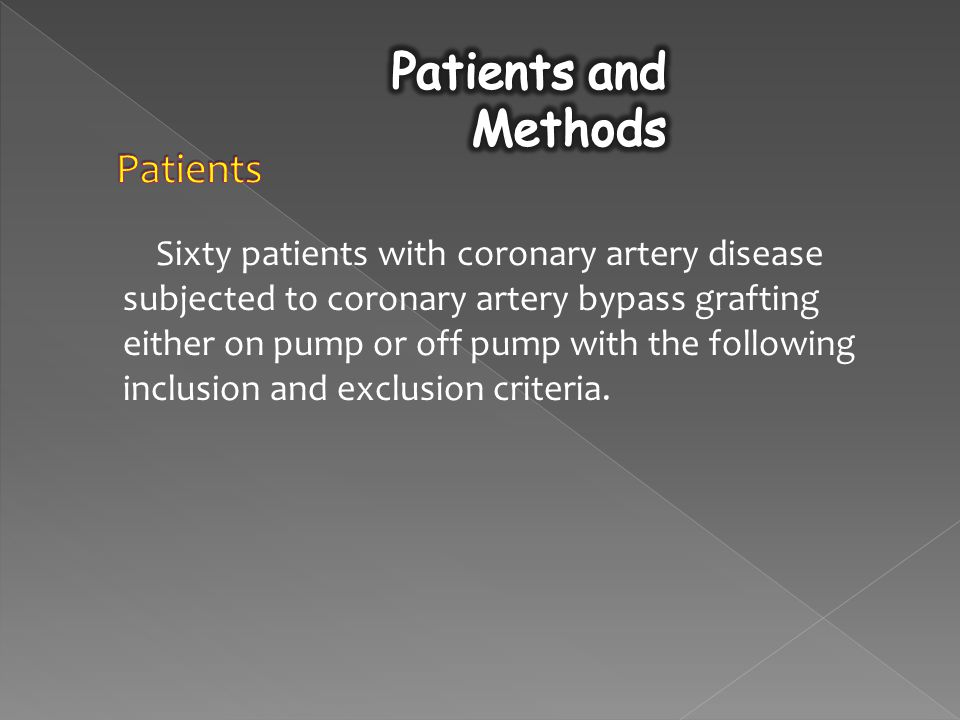Sixty patients with coronary artery disease subjected to coronary artery bypass grafting either on pump or off pump with the following inclusion and exclusion criteria.
