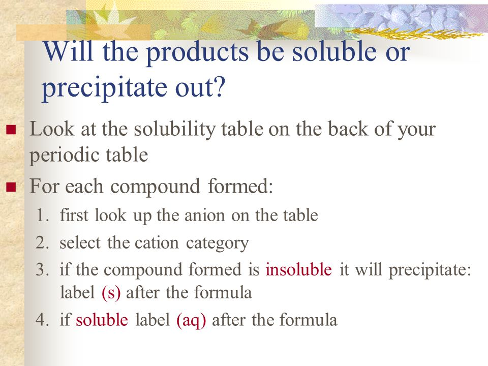 Will the products be soluble or precipitate out.