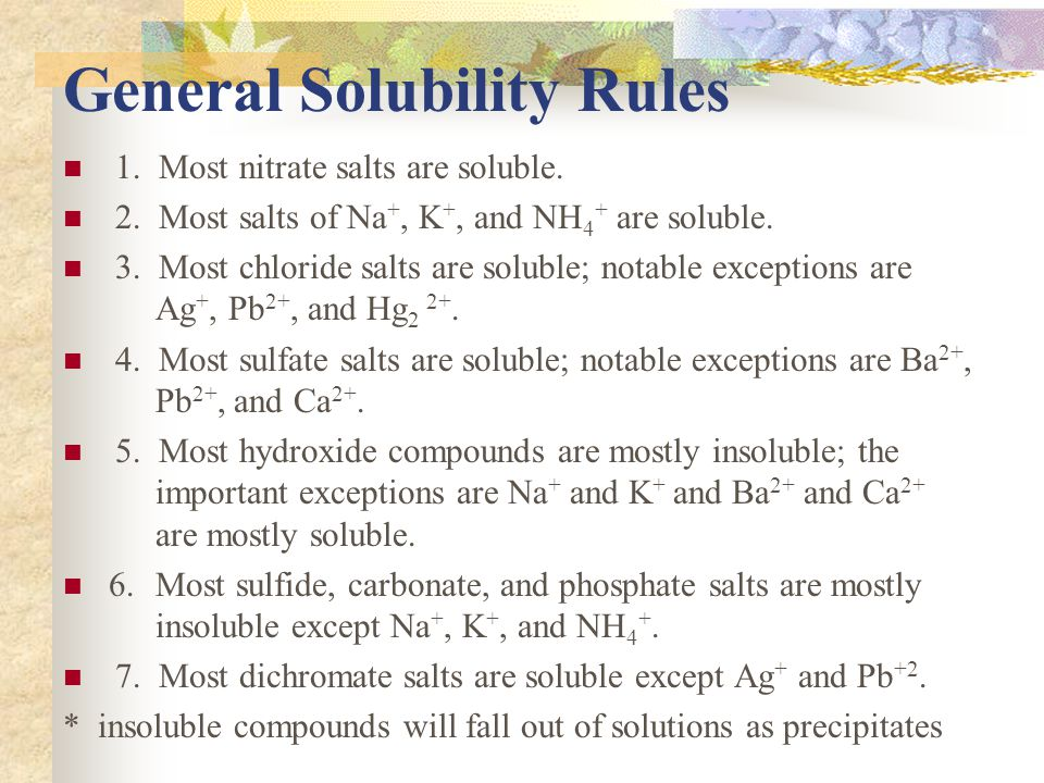 General Solubility Rules 1. Most nitrate salts are soluble.