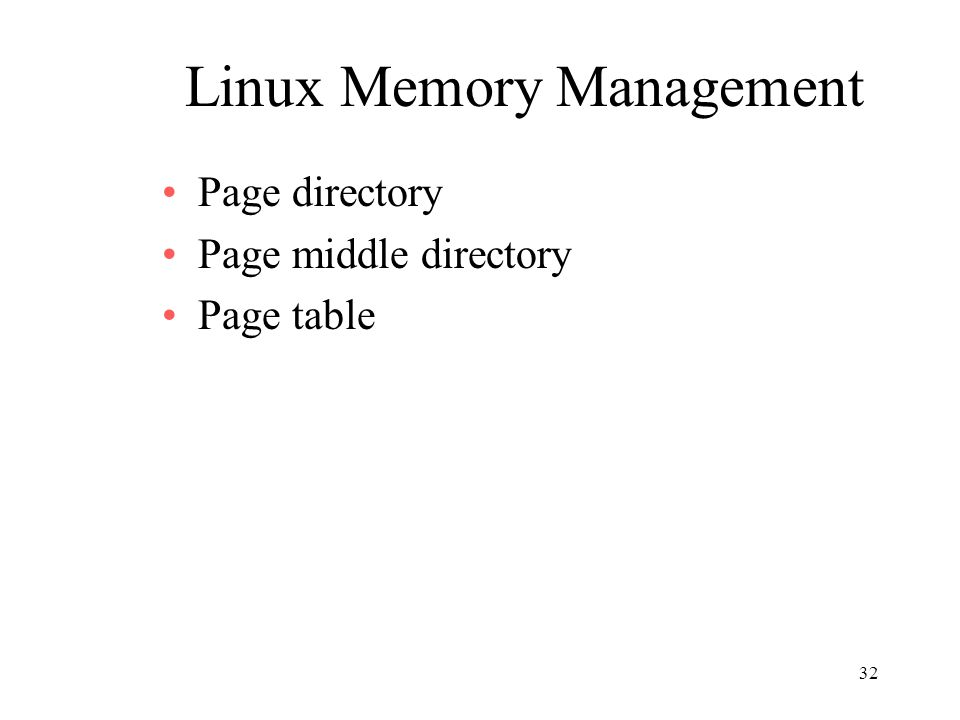32 Linux Memory Management Page directory Page middle directory Page table