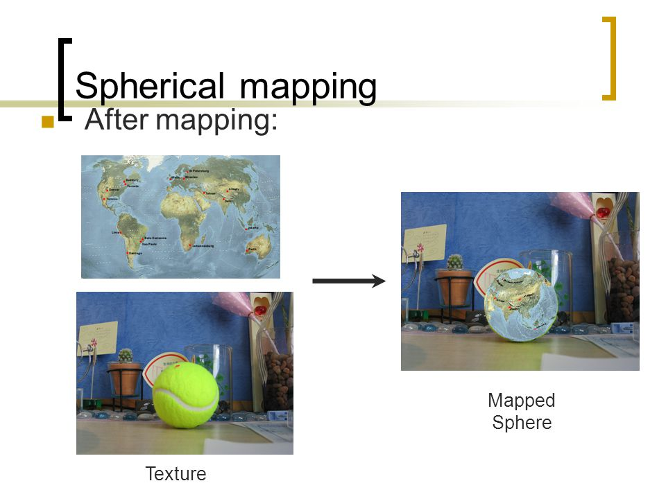 Spherical mapping After mapping: Mapped Sphere Texture