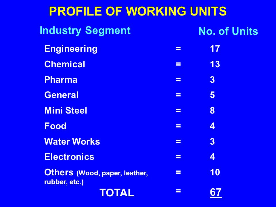 Engineering Chemical Pharma General Mini Steel Food Water Works Electronics Others (Wood, paper, leather, rubber, etc.) TOTAL PROFILE OF WORKING UNITS 17 13 3 5 8 4 3 4 10 67 ==================== Industry Segment No.