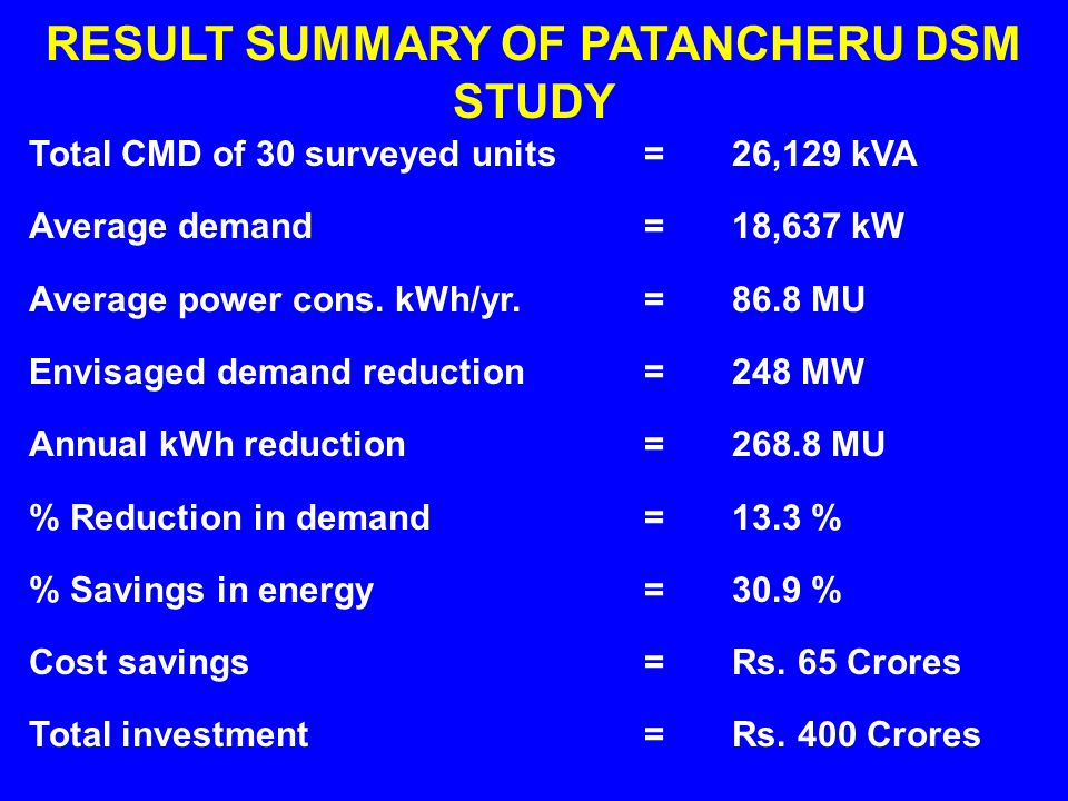 Total CMD of 30 surveyed units Average demand Average power cons. kWh/yr. Envisaged demand reduction Annual kWh reduction % Reduction in demand % Savi