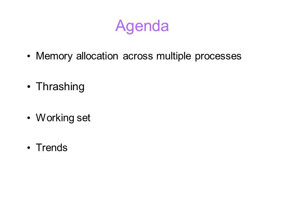 Agenda Memory allocation across multiple processes Thrashing Working set Trends