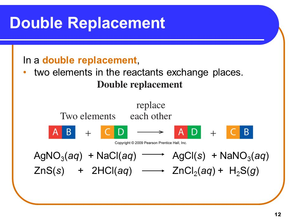 12 Double Replacement In a double replacement, two elements in the reactants exchange places.