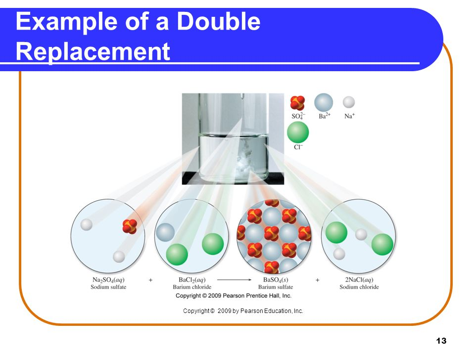 13 Example of a Double Replacement Copyright © 2009 by Pearson Education, Inc.